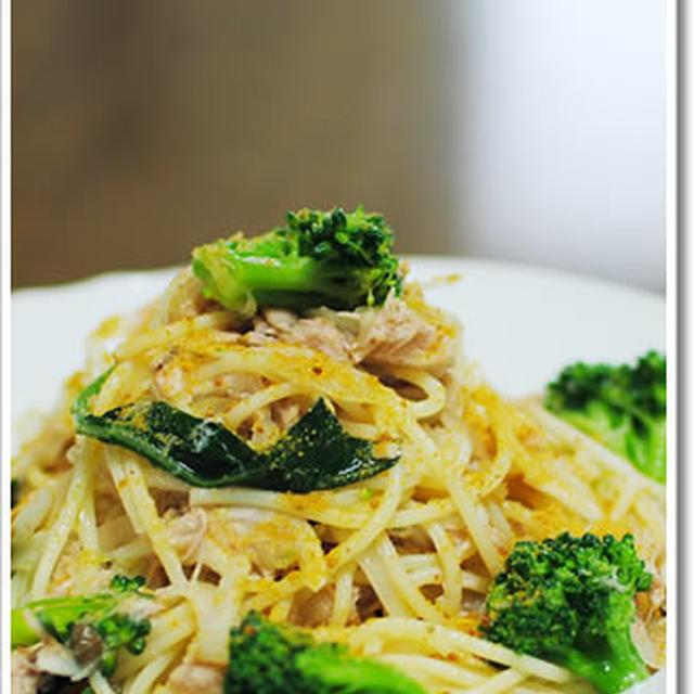 ツナとタマネギ、ブロッコリーの冷製スパゲッティーニ
