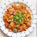 食べ応え抜群!白米がすすむ*豚肉とこんにゃくのキムチ炒め*