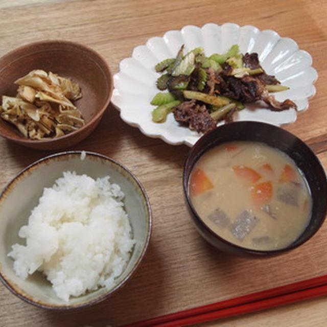 セロリの炒め物朝食
