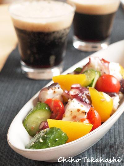 タコと夏野菜のガーリック&オニオンマリネ