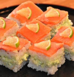アボクリとサーモンの押し寿司
