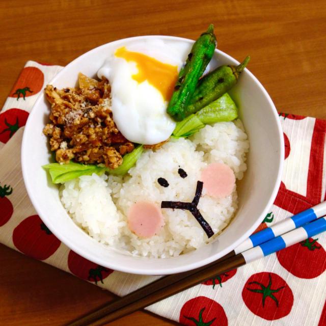 簡単朝ごはん!肉もどき♡豆腐そぼろの和風ロコモコ風丼で「ヒツジ丼」