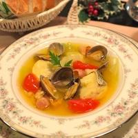 たらとあさりのサフラン風味スープ