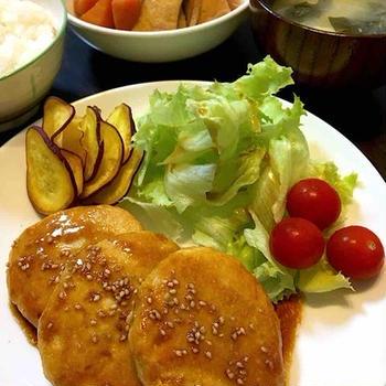 つくね風豆腐ハンバーグの晩ご飯