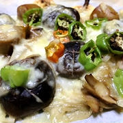 椎茸のチーズ焼き&ちーちゃんのうどん♪