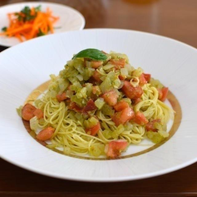 【バジルとトマトの冷製カッペリーニ】自家製バジルペーストをたっぷりと