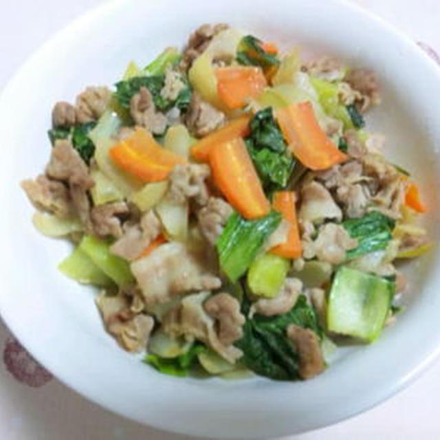 チンゲン菜と豚肉の味噌炒め