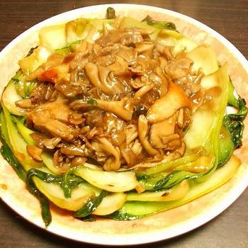 キノコと青梗菜のオイスターソース炒め