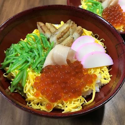 ちらし寿司とごま豆腐の茶碗蒸し
