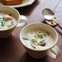 とろり蓮根と押し麦のスープ