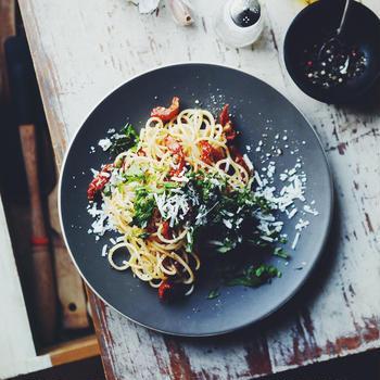 大葉とサンドライトマトのパスタ