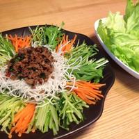 ☆レシピ☆野菜もりもり!香菜入り肉味噌のレタス包みサラダ