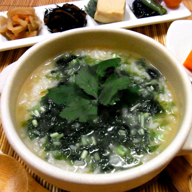 生青海苔の味噌雑炊☆