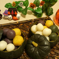ハローウィン☆カボチャ器で野菜たっぷり団子 (炊飯器でカボチャ蒸し)