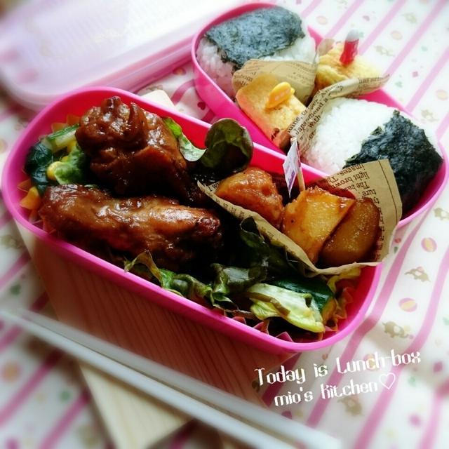 ♡今日のお弁当♡鶏手羽元deコーラ煮♡