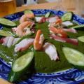 蛸とエビのグリーンソース添え