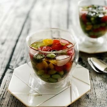 グラスに固めて♪簡単・お洒落♡『夏野菜のグラステリーヌ』