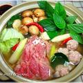 バジルハーブレモン鍋★牛肉と海老つみれ団子