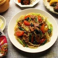 『ハウスエスニックガーデン クッキングペースト<ガパオ味>』でパパッと作る炒め野菜のパスタ♪