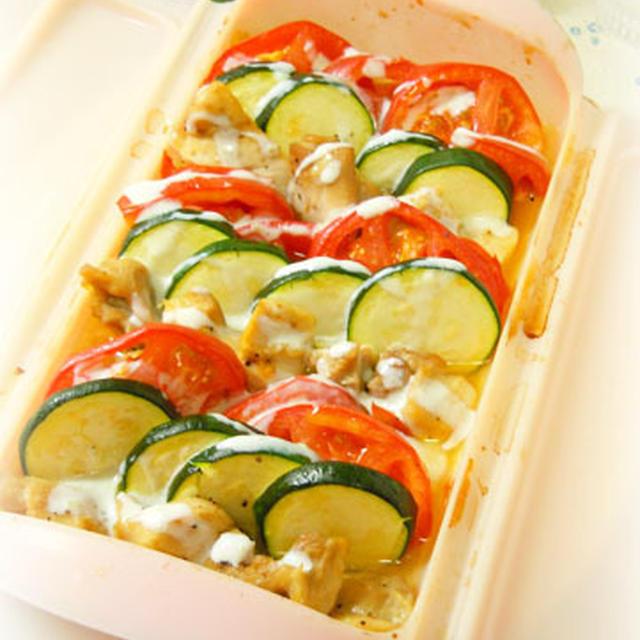 蒸し鶏と夏野菜のグリル*柚子こしょうヨーグルトソース