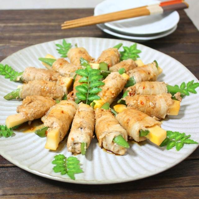 山椒の葉のお話&筍とスナップエンドウのピリ辛肉巻き