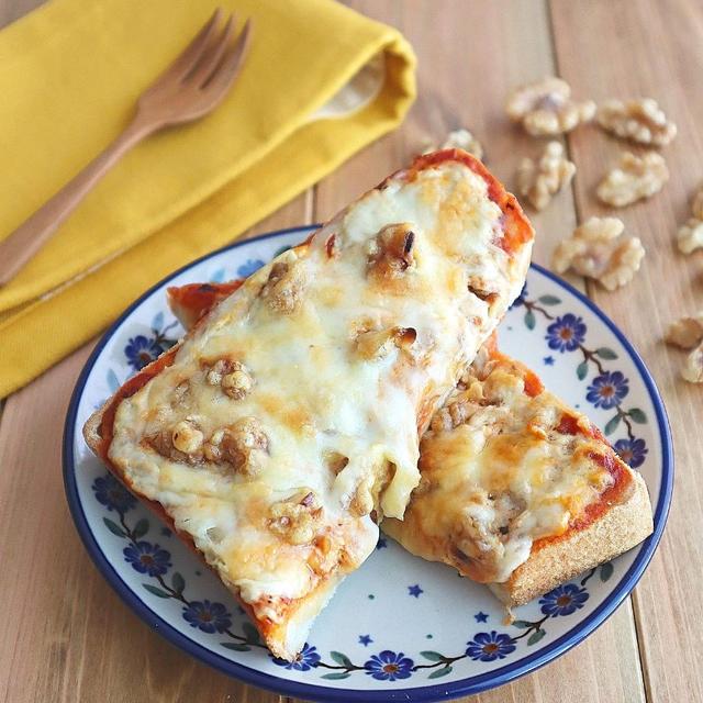 【#冷凍作りおきトースト】ツナとくるみのチーズトースト