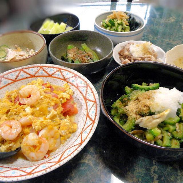 6月25日☆沖縄フリークの私が作るゴーヤの料理や小さな野菜のおかず&たまごのおかず全6品で!!