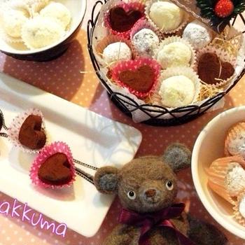 【バレンタイン】簡単!混ぜるだけ☆ハートの生チョコとトリュフ2種