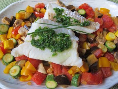 ラタトゥイユと鱈の蒸し煮&西瓜とゴートチーズのサラダ