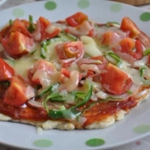 夏野菜たっぷり♪フライパンdeピザ