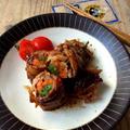 レンジで一発*お弁当にも。豚こま切れ肉の野菜巻き