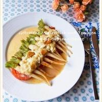 抜き菜(ミニ大根)とトマトのオレガノソテー チーズソース添え