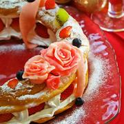 ホットケーキミックスHMでも薄力粉でも簡単お菓子♪クリスマスにパリブレストリース