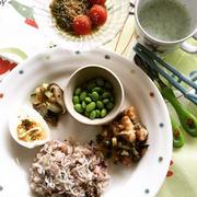 息子ごはん 鶏肉と野菜の甘酢炒めとズッキーニと椎茸のチーズ焼き