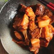 ご飯に合う*トロトロ豚バラブロックのキムチ煮