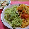 無農薬ベランダ菜園でパスタ2種