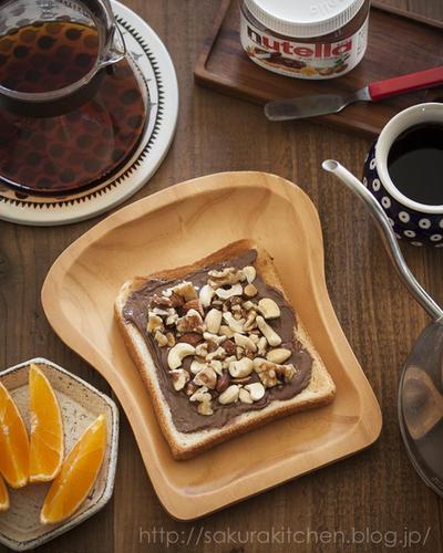 ナッツ好きにはたまらない、ヌテラで簡単おいしい朝ごはん♪