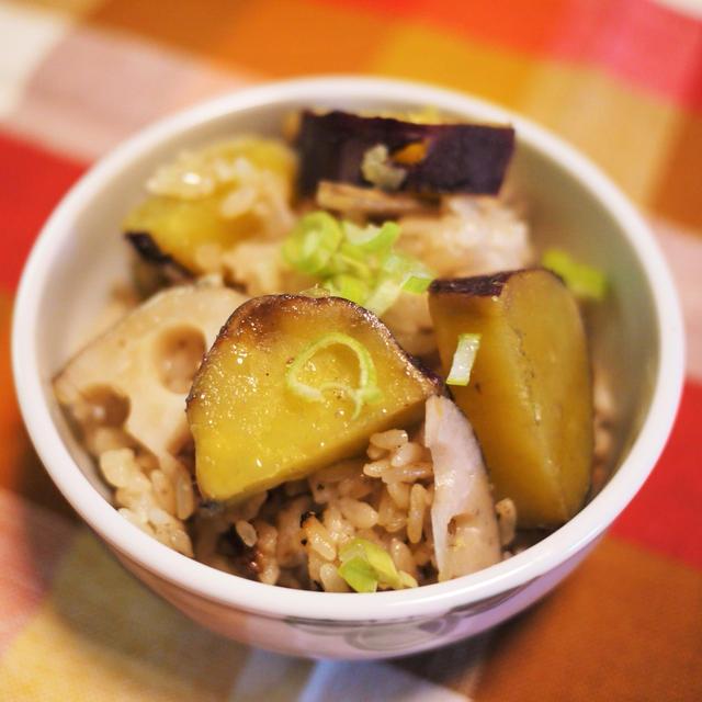 あやファームのサツマイモと福岡のレンコンで、秋ご飯。