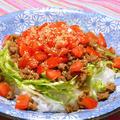 フルーティでコクのある、いわき愛菜トマトで和風タコライス。