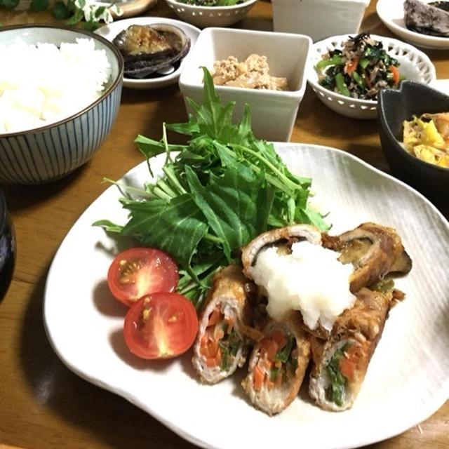 豚肉のいろいろ野菜巻き♪ウマウマ香味ダレおろしde野菜たっぷり晩ごはん