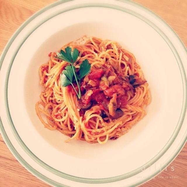 きのうの主人のトマトパスタのレシピ!!!