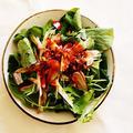 ほうれん草とラディッシュのサラダ 焼肉のたれと食べるラー油で作るドレッシングで。