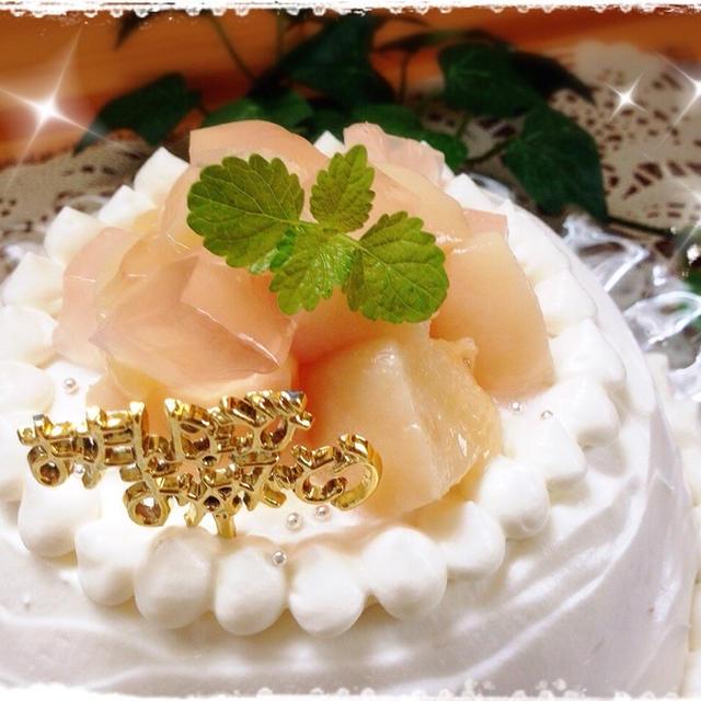 母、ハッピ~バースデー♪ ~気合の'桃&レアチーズケーキ'♥~