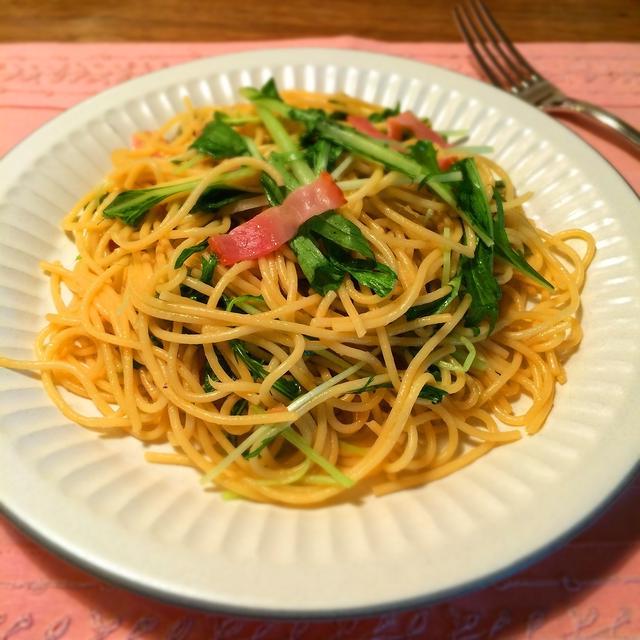時短・簡単!水菜とベーコンの和風スパゲティー