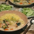 秋鮭と小松菜のクリームシチュー・ターメリックライス by donchanさん