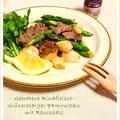 牛肉・グリーンアスパラ・長いものスモークペッパー炒め