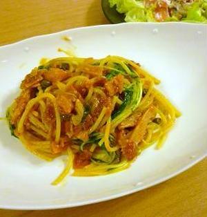 トマトと水菜のスパゲッティ