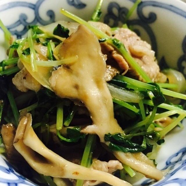 [10分料理] 豆苗と舞茸と豚肉の秋風味炒め物