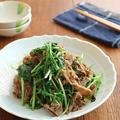 【#材料2つ #メインおかず】牛肉と水菜のバタポンガーリック炒め