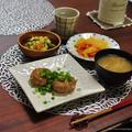 豚×鶏の合いびき肉で【ごぼう入り塩つくね】と晩ごはん